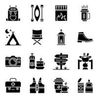 pacote de acessórios de acampamento ícones sólidos vetor