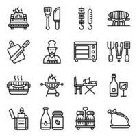 pacote de ícones lineares de acampamento vetor
