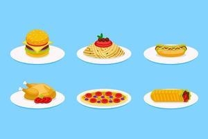conjunto de ilustração vetorial de fast food no prato vetor