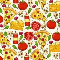 ilustração vetorial colorida fofa de padrão de pizza vetor