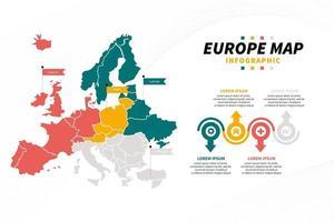 apresentação do infográfico do mapa da europa com ícone e gráfico de diagrama vetor