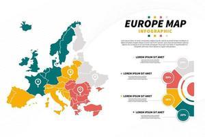 apresentação do infográfico do mapa da europa com modelo de diagrama vetor