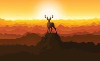 cervo em pé sobre uma pedra ao pôr do sol. ilustração da silhueta vetor
