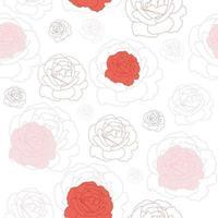 padrão floral sem costura com rosas planas.