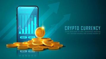 criptomoeda bitcoin com pilha de moedas e smartphone vetor