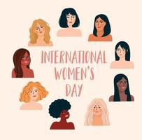 dia internacional da mulher. ilustração vetorial com mulheres de diferentes nacionalidades e culturas. vetor