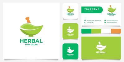 logotipo de pilão e folha de almofariz com modelo de cartão de visita vetor