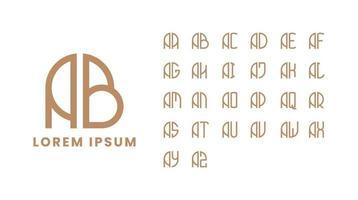 monograma simples e minimalista definido da letra ab para a letra az vetor