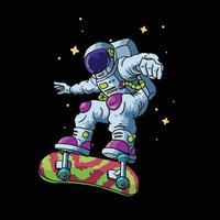 astronauta jogar skate ilustração vetorial vetor