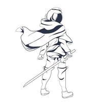 astronauta espacial com arte de ilustração com tinta de espada vetor