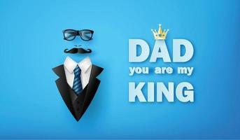 cartão feliz dia dos pais com bigode, gravata e óculos estilo corte de papel vetor