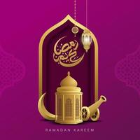 vetor caligrafia árabe ramadan kareem saudação cartão