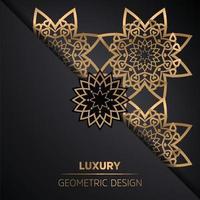 Fundo de mandala de luxo com padrão de arabescos dourados vetor