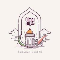 caligrafia árabe ramadan kareem com símbolo islâmico de estilo de linha de arte vetor