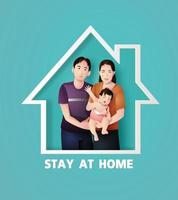 família fica em casa em auto quarentena durante a epidemia de coronavírus, estilo de corte de papel. vetor