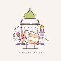 ramadan kareem com símbolo islâmico de estilo de linha de arte vetor
