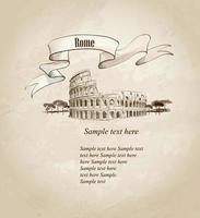 Marco de viagens de Roma. ícone arquitetônico do Coliseu italiano. vetor