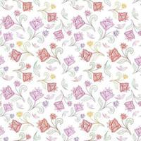 padrão de linha sem costura floral. florescer com azulejos de origem étnica oriental. ornamento árabe com flores e folhas fantásticas. motivos de linha desenhada das pinturas de padrões de tecido da Índia oriental. vetor
