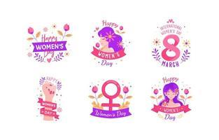 8 de março conjunto de ícones do dia da mulher vetor