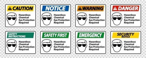 Proteção química ocular perigosa necessária conjunto de símbolos vetor