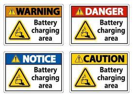 conjunto de sinal de área de carregamento de bateria em fundo branco vetor