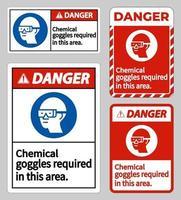 É necessário usar óculos de proteção química para sinais de perigo neste conjunto de sinais de área vetor