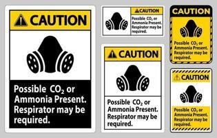 cuidado sinal ppe possível conjunto de sinais de apresentação de CO2 ou amônia vetor