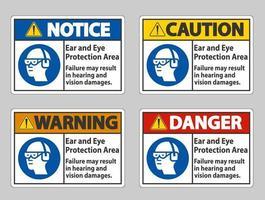 conjunto de sinalização de área de proteção para ouvidos e olhos vetor