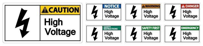 conjunto de sinal de alta tensão isolado em fundo branco vetor