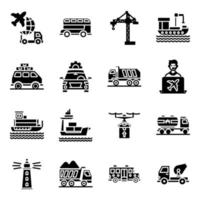 pacote de ícones sólidos de viagens vetor