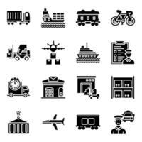 pacote de ícones sólidos de transporte