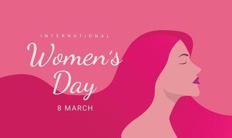 dia internacional da mulher, 8 de março, ilustração da cabeça da mulher vista lateral do dia da mulher feliz. vetor