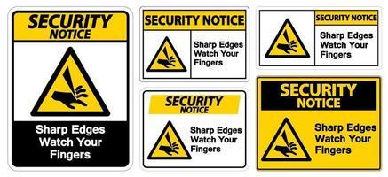 aviso de segurança bordas afiadas observe seus dedos conjunto de sinais de símbolo vetor