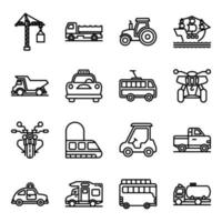 pacote de ícones lineares de automóveis