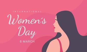dia internacional da mulher, 8 de março, ilustração da cabeça da mulher vista lateral do dia da mulher feliz.