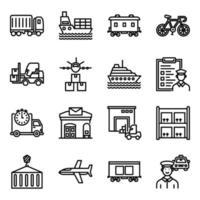 pacote de ícones lineares de transporte
