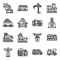 pacote de ícones lineares de viagens vetor