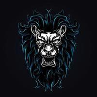 ilustração de arte de leão zangado vetor