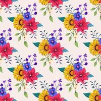 padrão sem emenda com ilustração de design floral botânico colorido.
