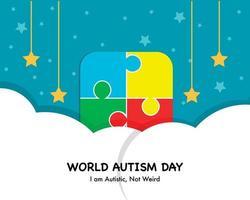 fundo simples do dia mundial do autismo vetor
