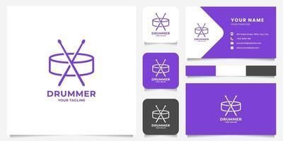 logotipo simples de tarola e baquetas com modelo de cartão de visita vetor