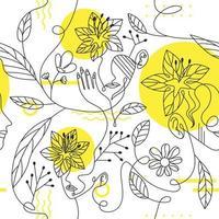 rosto de mulher de arte de uma linha com flores decoradas vetor