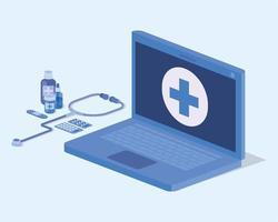 serviço de telemedicina laptop com estetoscópio vetor