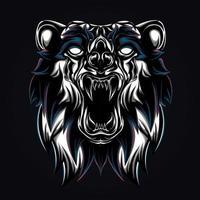 ilustração de arte de urso zangado vetor