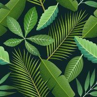 padrão sem emenda tropical com folhas de palmeira verde sobre fundo escuro.