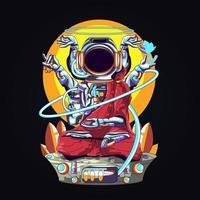 ilustração de arte da relegião do astronauta Buda