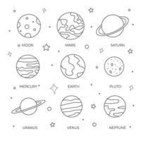 conjunto de planetas desenhados à mão e lua para colorir página ou livro infantil vetor