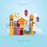 ramadan kareem com ilustração vetorial de oração taraweeh de pessoas vetor