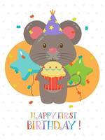 lindo design de cartão de primeiro aniversário vetor