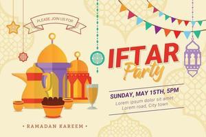 banner de modelo de festa iftar para mês sagrado da temporada do ramadã vetor